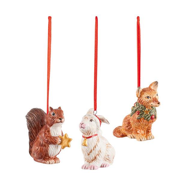 Nostalgic Ornaments set de ornamentos con motivo de animales del bosque, 6 x 7 cm, 3 artículos, , large
