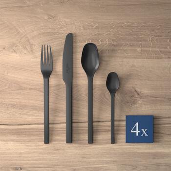 Manufacture Rock posate da tavola, per 4 persone, 16 pezzi, nero