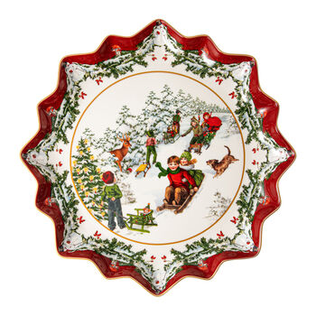 Toy's Fantasy plato hondo para repostería con motivo de paseo en trineo, rojo/varios colores/blanco, 39 x 39 x 3,5 cm