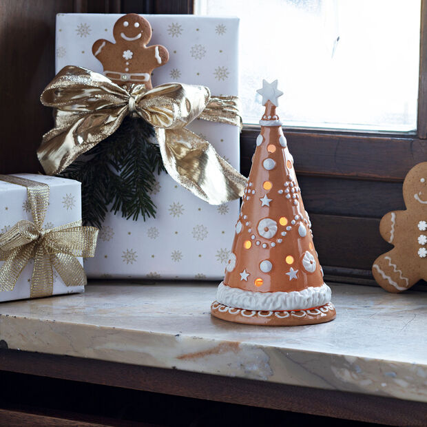 Winter Bakery Decoration árbol grande de pan de jengibre, marrón/blanco, 11 x 11 x 21cm, , large