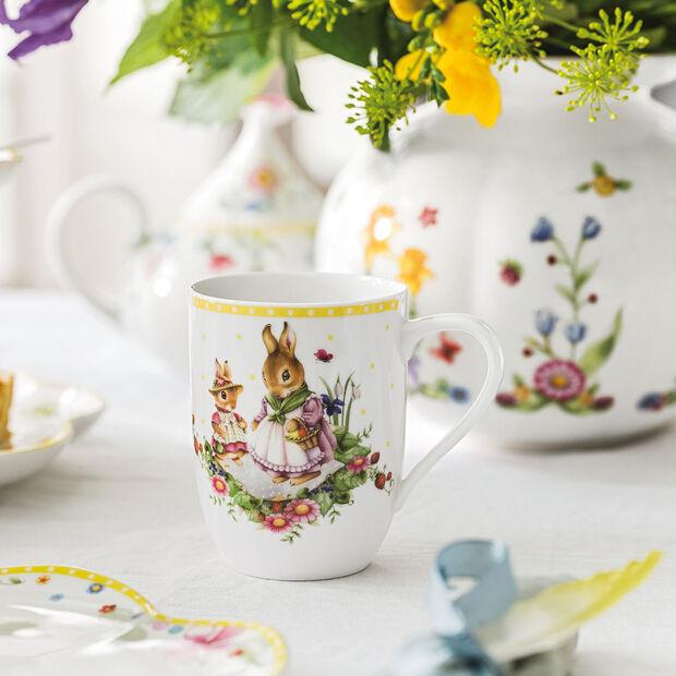 Spring Awakening taza con motivo de familia de conejos, 340 ml, amarillo/varios colores, , large
