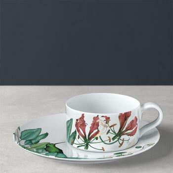 Taza de té con plato Avarua, 230ml, blanco/multicolor